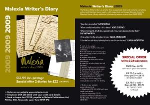 Mslexia writer's diary 2009