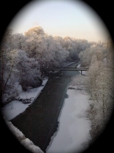 River in winter -  from a city bridge
