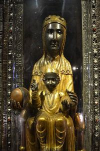 La Moreneta Madonna of Montserrat, a more renowned Black Madonna located at the Santa Maria de Montserrat monastery in the Montserrat mountain in Catalonia.