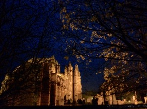 Melrose Abbey: eerie autumn twilight
