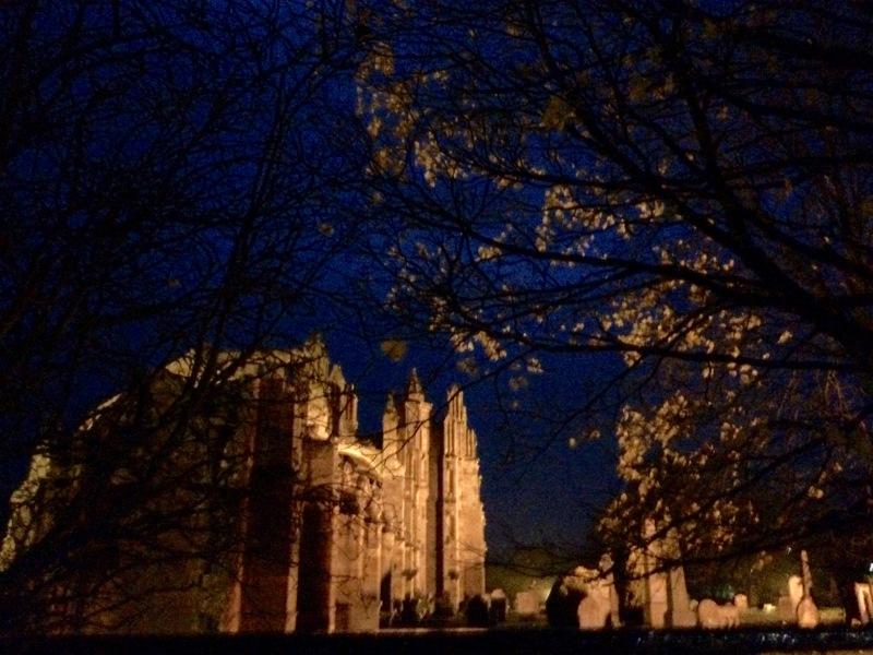 Melrose Abbey: eerie autumn twilight