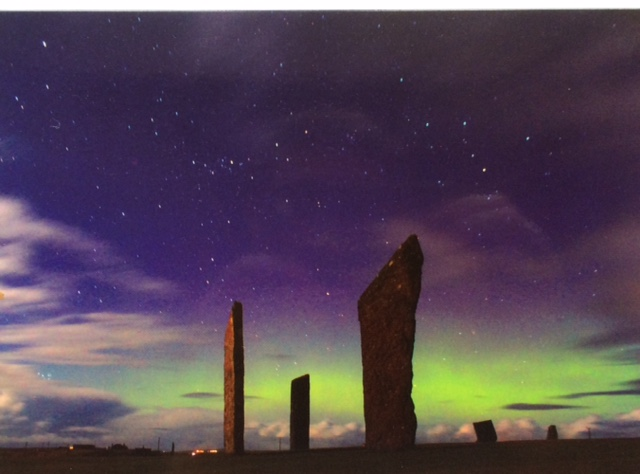Northern Lights at Stenness Stones, Orkney