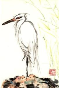 Japanese Heron Painting